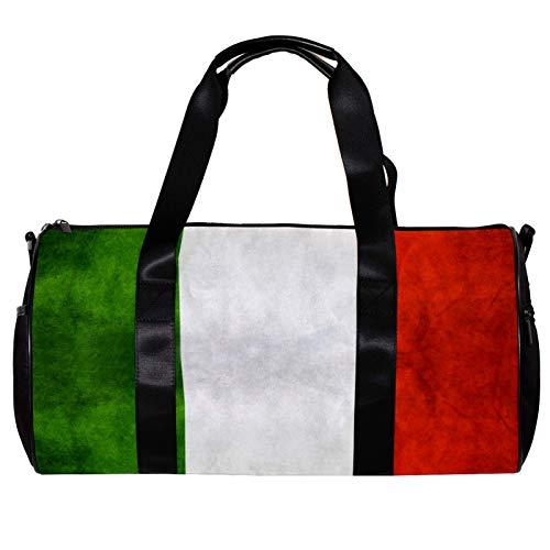 Borsone da palestra rotondo con tracolla staccabile con bandiera retrò d'Italia borsa da allenamento per donne e uomini