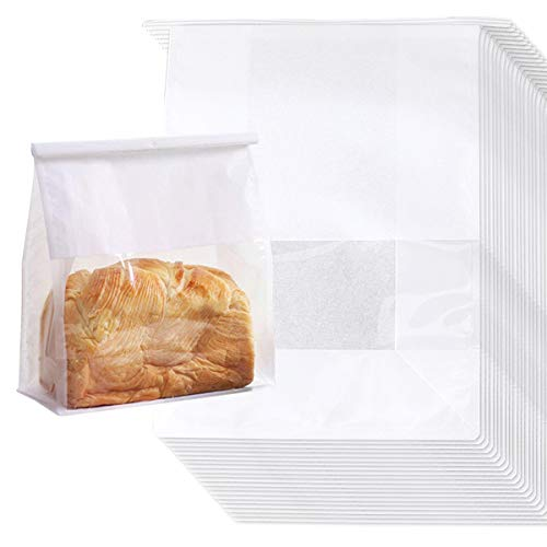 QAQGEAR Bakery Bags with Window, Tin Tie Lock Closure Kraft Paper Bread Loaf Bags for Bakery Toast Cookie Treat Popcorn Packaging, White, 11 x 8.5 x 4.3inches(20 Pcs)