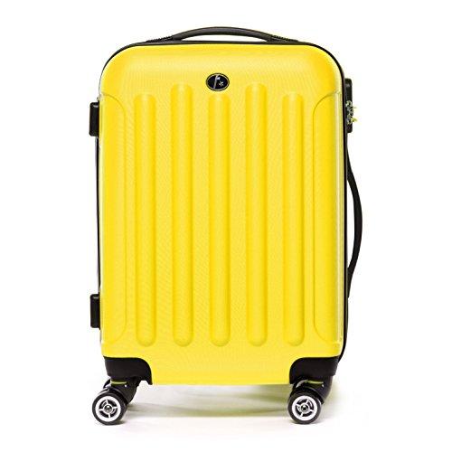 FERGÉ Set di tre valigie LYON - bagaglio rigide duro da 3 - tre pz. valigie con 4 ruote (360) - pelle grey