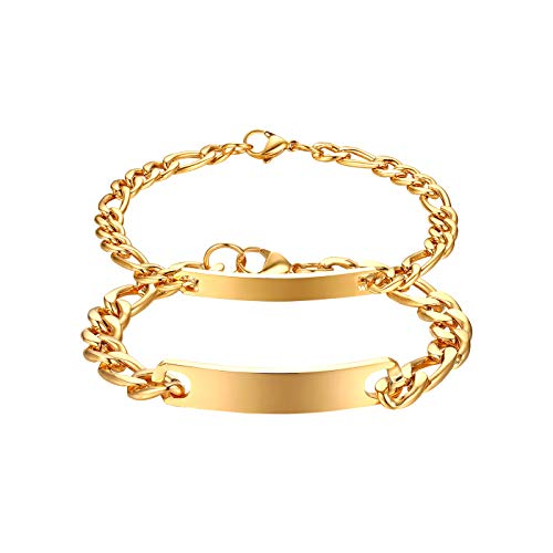 JewelryWe Schmuck 2pcs Pärchen Armband mit Gravur, Edelstahl Poliert Figarokette Partnerarmband Freundschaftsarmband Paar Armkette Armreif für Herren Damen, Gold