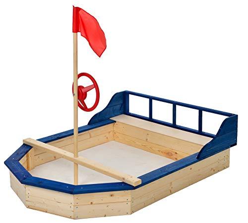 GASPO Sandkasten-Schiff mit Abdeckung, Sandbox aus Holz, L 162 cm x B 120 cm, TÜV-geprüft