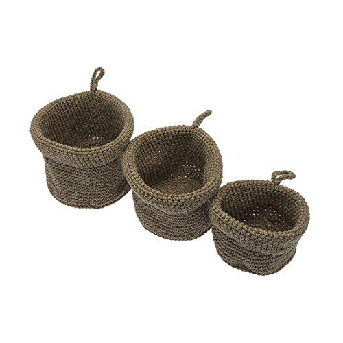 FRANDIS, Set di cestini portaoggetti Intrecciati Rotondi da Bagno, 16,5 x 16,5 x 10 cm, Beige (Beige)