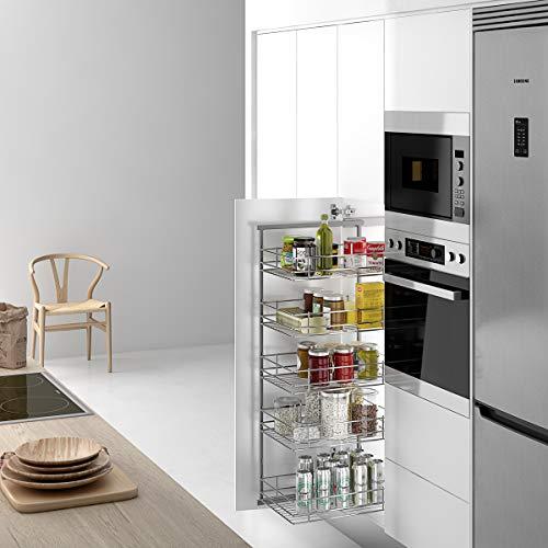 Casaenorden - Estante extraíble Lateral Reversible con cestas de Rejilla para Mueble de despensa de Cocina, Ancho Exterior Mueble 200 mm