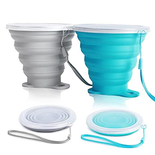 Faltbare Tasse Silikon - Zusammenklappbarer Silikon Becher Camping Klappbecher Faltbarer Reisebecher Tragbare Versenkbare Wiederverwendbare Ultradünne 270ml für Picknick Outdoor Camping,Blau+Rosa