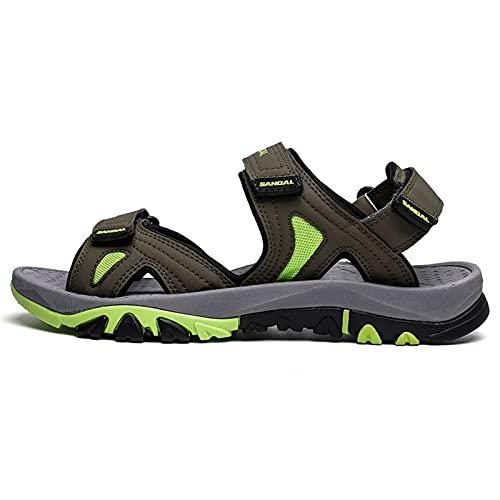 Sandalias de deporte de lazo de gancho para hombres Slip de cuero PU en zapatos de punta abierta cortados Ligero resistente a resistencia Sandalia Sandal Color Sólido Flexible Plano Plano Puntotación