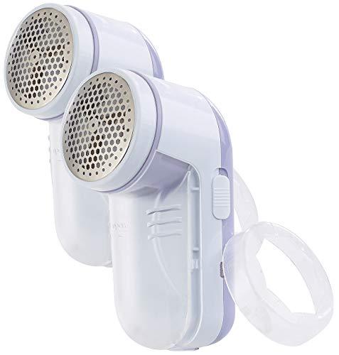 Sichler Haushaltsgeräte Fussel-Rasierer: 2er-Set Akku-Fusselrasierer mit Metall-Flusengitter, weiß/lila (Elektrische Fusselrasierer)