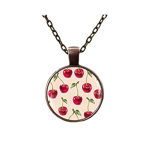 Goodnight cat Cherry Necklace, Rockabilly Jewelry, Red Cherries Art, Fruits Summer Jewelry, Vintage Retro Cherry Pendant