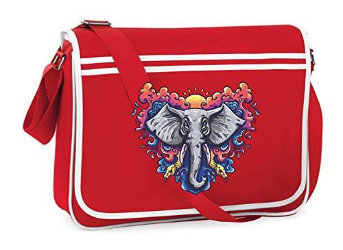 Bolso para el hombro de impresora Druckerlebnis24, elefante, yoga, tatuaje, indio, para escuela, universidad, ordenador portátil