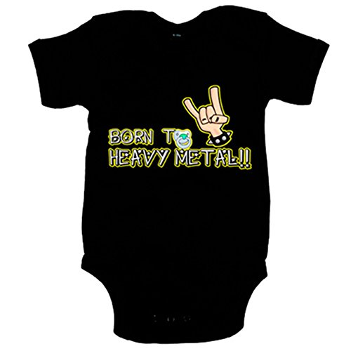 Body bebé Born to Heavy Metal bebé nacido para el heavy metal - Negro, 6-12 meses