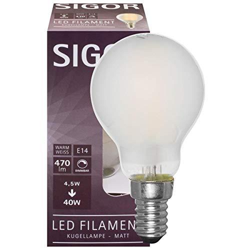 SIGOR Filament-LED-Lampe, Tropfen-Form, matt, E14/240V (9019605133)