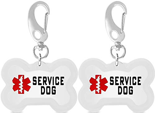 Taglory 2 Pack Double Sided Bone Service Dog Tags with Silencer & Clip,Stainless Steel Working Dog Tag