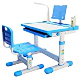 BRIGHTSHOW Kids Desk Table and Chair Set Adjustable Height Childs Study Desks School Student Writing Tables W/Pull Out Drawer Storage,Pencil Case,Bookstand,LED Light (Blue)