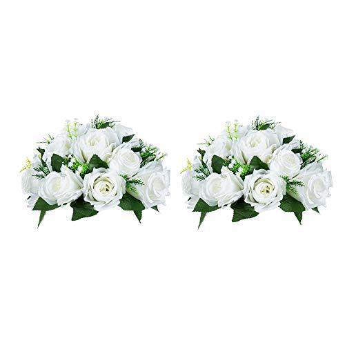 Nuptio 2 Stück Künstliche Blumenstrauß, 15 Köpfe Kunststoff Rosen mit Sockel, Geeignet für Unser Geschäft Hochzeit Herzstück Blumenregal für Parteien Valentinstag Dekoration(Reines Weiß)
