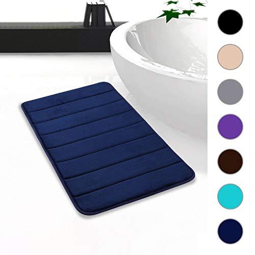 Homaxy Memory Foam Badezimmer Badeteppiche Saugfähige Rutschfester Badvorleger Waschbar Badematte - 50 x 80 cm, Marineblau