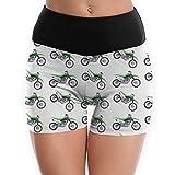 NiYoung High Waist Women's Yoga Dress Shorts Track Shorts Tummy Control, Motorcycle Green Dirt Bike Colorful Patterned Workout Running Shorts 4 Way Stretch Skinny Shorts