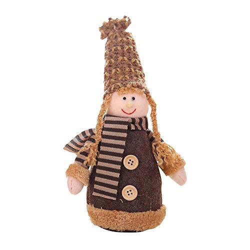 Hangarone Colgante de muñeca, figuras de Navidad, gorro de punto, muñeca de juguete, adorno de mesa con bufanda a rayas para decoración de Navidad, 24 x 12 cm