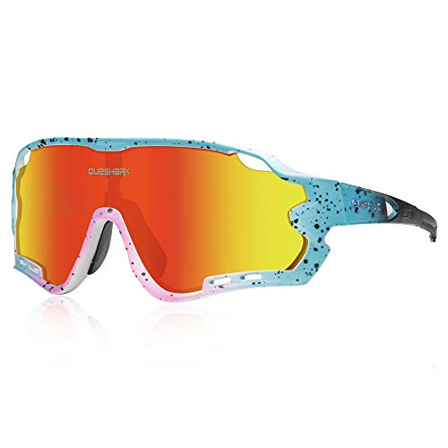 Polarizzati Occhiali Ciclismo con 4 Lenti Intercambiabili Occhiali Bici Occhiali Sportivi da Sole Anti UV da Uomo Donna per Corsa ,MTB (Rosa Blu)