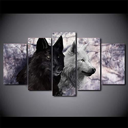 MMLFY 5 aufeinanderfolgende Gemälde Wohnzimmer Wandkunst Bilder HD Gedruckt 5 Stück/Stücke Schwarz Und Weiß Wolf Moderne Malerei Auf Leinwand Wohnkultur Poster