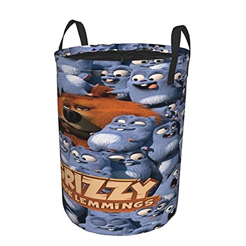 Grizzy And Lemmings - Bolsa redonda para ropa sucia, impermeable, a prueba de polvo, plegable, cesta de almacenamiento para juguetes, ropa y libros