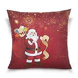 Funda de almohada decorativa cuadrada con diseño de copo de nieve, color rojo
