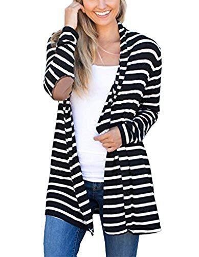 MerryfunWomen's Shawl Collar Striped Cardigan Long Sleeve Elbow Patch Open Front Sweater top,BK 2XL Black