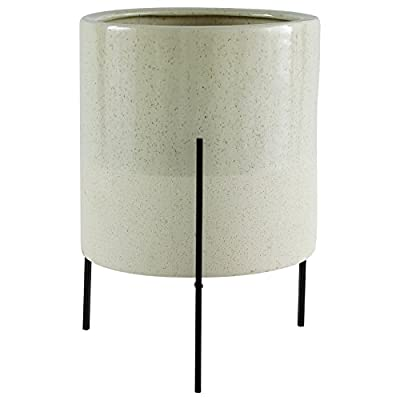 "Amazon Brand – Rivet Mid-Century Ceramic Planter with Iron Stand, 17""H, Pale Green"