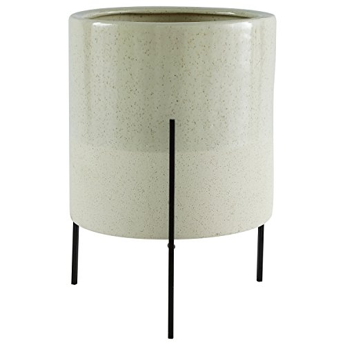 Amazon Brand – Rivet Mid-Century Ceramic Planter with Iron Stand, 17'H, Pale Green