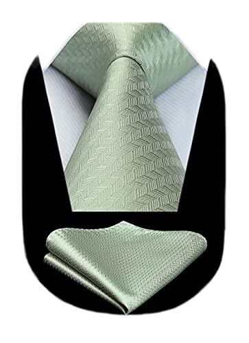 HISDERN Sage Solid Color Herringbone Formal Tie for Men Handkerchief Silk Classic Necktie & Pocket Square Set Wedding