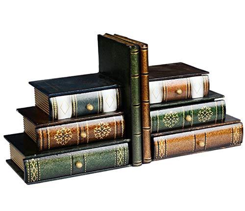 Fasmov 1 Paar Buchstütze Holz mit Desktop Organizer Schublade
