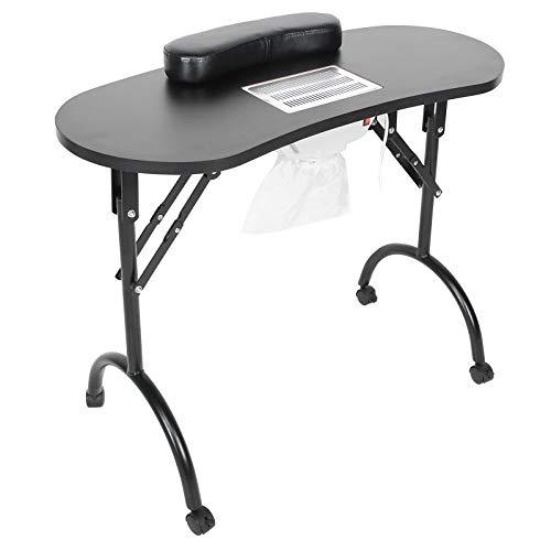 Mesa de manicura, escritorio portátil plegable para uñas, colector de polvo para uñas incorporado, reposabrazos para uñas, mesa profesional para uñas con bolsa de transporte para el hogar, salón(EU)