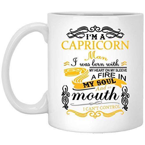 Taza de café de Capricornio - Nací con mi corazón Taza de cerámica - Signo del zodiaco de Capricornio Regalos para hombres, papá, hermano, novio, cumpleaños, regalo de mordaza, tazas de café, taza de