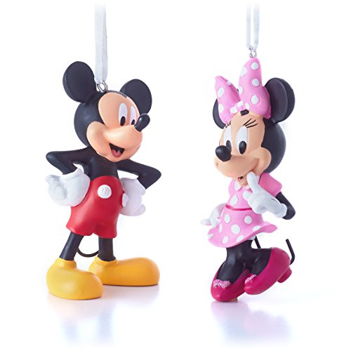 Hallmark Disney Minnie Bow-Tique and Mickey Mouse Clubhouse Christmas Ornaments, Set of 2