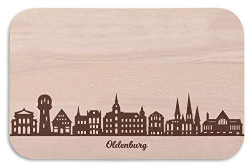 Frühstücksbrettchen Oldenburg mit Skyline Gravur - Brotzeitbrett und Geschenk für Oldenburg Stadtverliebte und Fans - perfekt auch als Souvenir