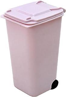1pc Mini Prullenbak CAN Desktop Prullenbak met Deksel Duurzaam Mini Vuilnisbak Potlood Cup Holder met lippen & wiel voor t...