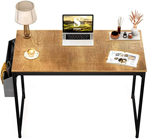 STAR WORK Metal Black Frame Modern Computer Desk Study Writing Table with Storage Bag and Hook for Home and Office (Natural, 30'H...