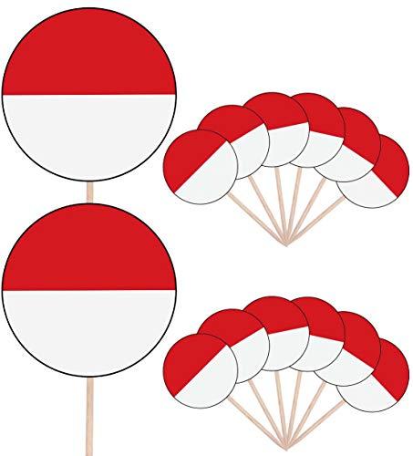 Indonesië Vlag Partij Voedsel Cake Cupcakes Picks Sticks Vlaggen Opstaan Decoraties Toppers (Pak van 14)