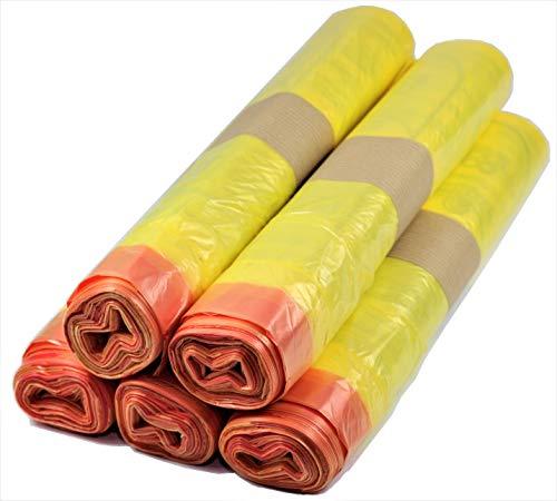 5 bis 500 Rollen Gelber Sack, Gelbe Säcke 90 Liter, 15µ (5 Rollen)