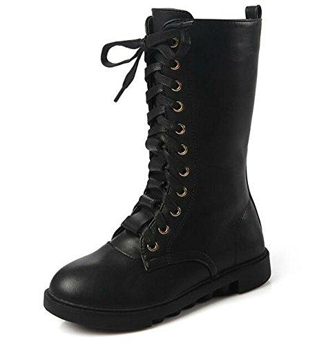 DADAWEN Kid's Girls Leather Lace-Up Zipper Mid Calf Combat Riding Winter Boots (Toddler/Little Kid/Big Kid) Black US Size 4.5 M Big Kid
