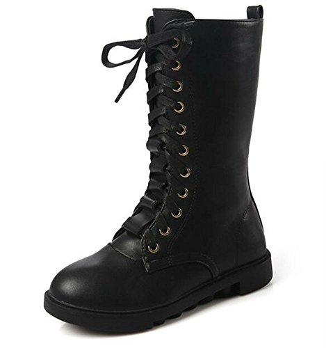 DADAWEN Kid's Girls Leather Lace-Up Zipper Mid Calf Combat Riding Winter Boots (Toddler/Little Kid/Big Kid) Black US Size 10.5 M Little Kid