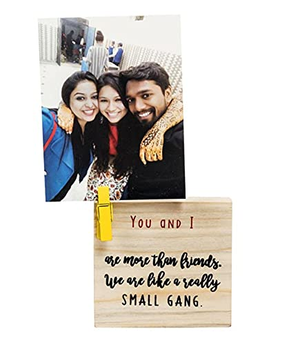 Kavi Clip on Photo Holders, Small Table Photo Frame for Love Birds, Eco-Friendly Gift for Friends, Loved Ones, Reclaimed Wood, Perfect for Workstation, Bedside Table, Size 3.5inX 3.5inX1in