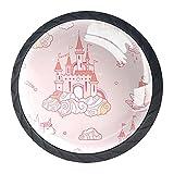 Juego de 4 pomos mágicos con diseño de castillo de unicornio, tiradores para cajones, armarios, armarios, muebles, puertas y cocina