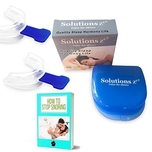 El mejor Férula anti ronquidos Solutions ZZZ [2 PCS] GRATIS: Se envía el ebook a petición del interesado + caja para - Férula dental confortable - Una alternativa para la dilatadores nasales