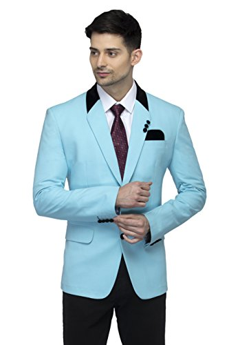 FAVOROSKI Designer Men's Slim Fit Velvet Notch Lapel Collar Single Breasted Blazer, Sky Blue
