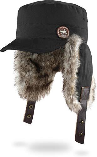 normani Wintermütze Wintercap mit Kunstfell und Ohrenklappen - Warme Innenpolsterung, Winddicht und Schirm für Damen und Herren Farbe Schwarz Größe S/M