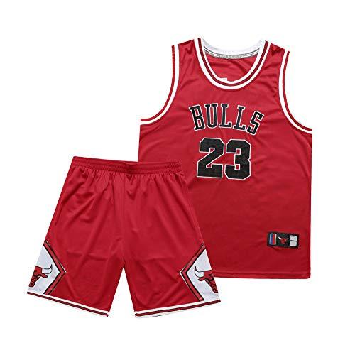 NBNB Michael Jordan Männer Erwachsene Basketball Trikot-Set - Chicago Bulls 23#, Basketball Retro-Stickerei-Trikots Sommer Anzüge Kits Tops Shorts 1 Set red-M