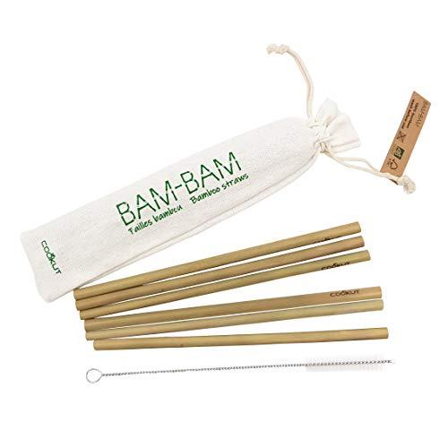 COOKUT - BAM BAM - Pailles réutilisables 100% Naturelles en Bambou Bio Issues de forêts gérées durablement