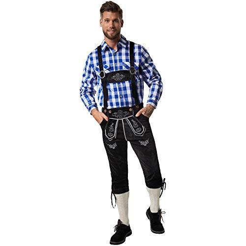 dressforfun 900816 Männer Lederhose mit Träger, Kniebund Hose in klassischer Optik, mit edlen, weißen Stickereien - Diverse Größen - (L  Nr. 302842)