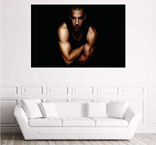 WHMQJQ Póster Impreso en Lienzo Pintura Actor Estrella Vin Diesel póster Impresiones Mural Cuadro artístico de Pared decoración del hogar sin Marco 50 * 75Cm