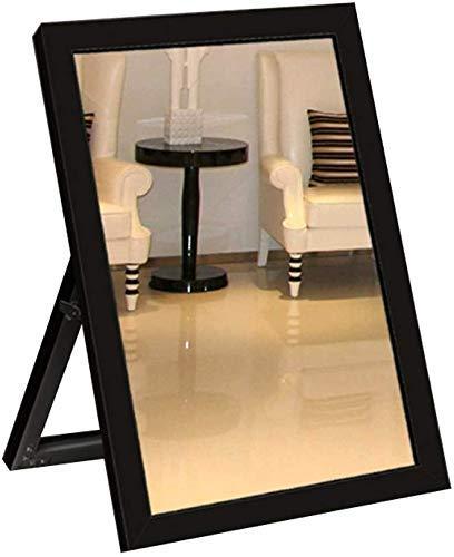 JKCKHA El Uso de Zapatos Soporte de Suelo Espejo Borde Plateado Espejo Tienda de Ropa de Zapatos Espejo (Color: Negro)
