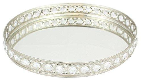 Sil Bandeja decorativa con espejo ovalado con piedras preciosas